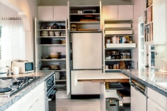 Refrigerator View - Open Cabinets