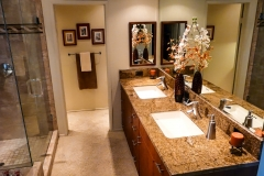 Master Bathroom Large Lav Sinks in Granite Counters and Private Toilet Room