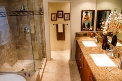 Master Bathroom Custom Shower with Decortive Tile Walls Large Lav Sinks in Granite Counters