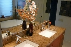 Master Bathroom Lav Sinks Granite Coounters and Mirror