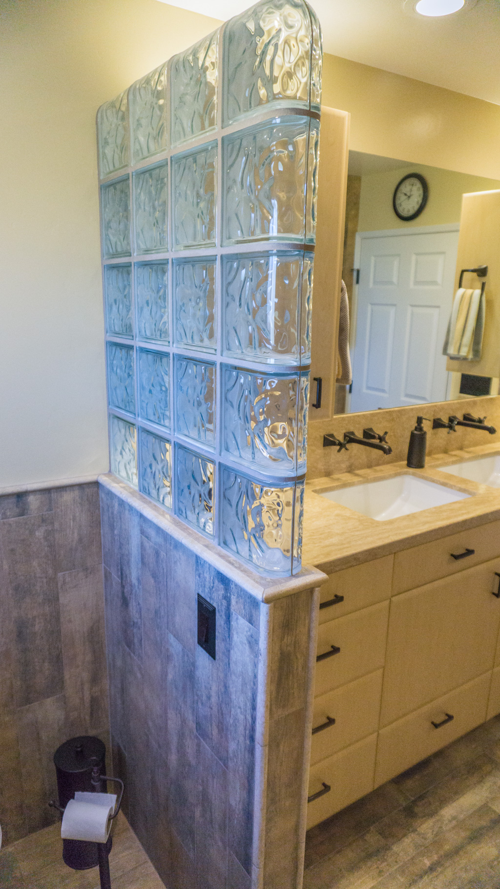 Earthy Wood & Glass Master Bath - Danilo Nesovic, Designer · Builder ...