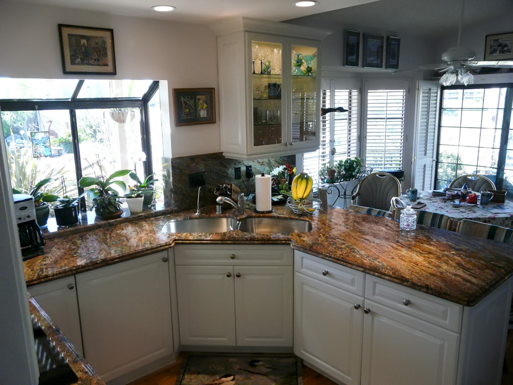 Cost To Remodel A Kitchen: Corner Sink Makes Small Kitchen Function